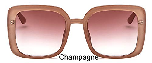 LKVNHP Sterne Leuchten Kunststoffrahmen Festival Celebrity Square Sonnenbrille Damen Mode Frauen Brille Uv Protector ChampagneWTYJ029 Champagner