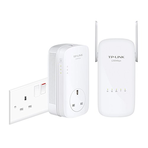 TP-Link TL-WPA8630KIT Dual Band Gigabit AC1200 Powerline Adapter, Range Extender, Broadband/Wi-Fi Extender, Wi-Fi Booster/Hotspot, Data Transfer Speed Up to 1200 Mbps, No Configuration Required