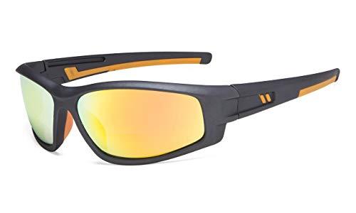 Eyekepper Bifokal Sonnenbrille für Sport TR90 Draussen Sonnenscheinleser (Gunmetal Rahmen-Orangefarben Spiegel Linse,+2.00)