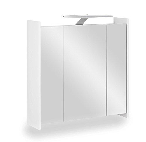 Galdem ELEGANCE Spiegelschrank 70cm Badezimmerschrank Wandschrank Badmöbel 3 Spiegeltüren 6 Einlegeböden LED Beleuchtung Anthrazit (Weiß)