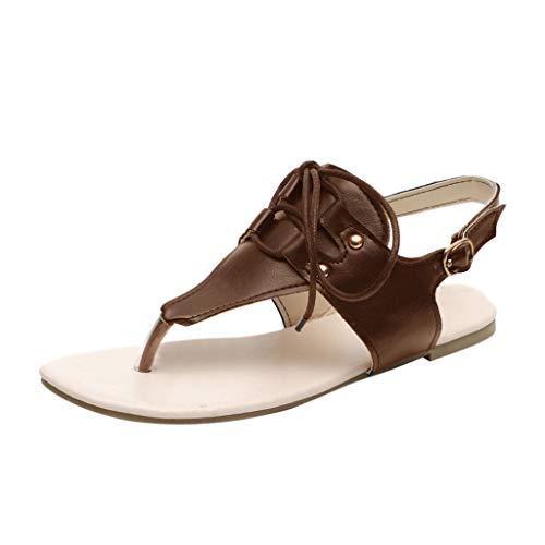 Lace Up Satin-tangas (Epigeon Frauen Flache Sandalen Sommer Schnalle Lace Up T Riemen Tanga Schuhe Damen Riemchen Flip Flops Strand Römische Schuhe)
