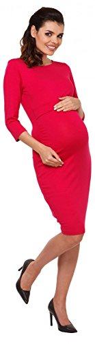 Zeta Ville - Vestito a strati allattamento prémaman maniche 3/4 - donna - 972c Lampone