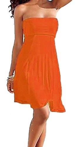 Sodacoda 4 Stile in 1 - Sexy Figurbetonendes trägerloses Strand- Kleid oder Rock (Orange, LXL)