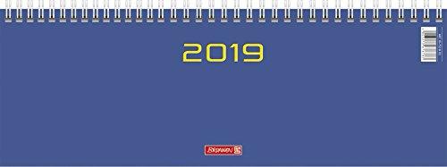 Brunnen 107726103 Tischkalender/Querterminbuch Modell 772, 2 Seiten = 1 Woche, 297 x 105 mm, Karton-Umschlag blau, Kalendarium  2019, Wire-O-Bindung