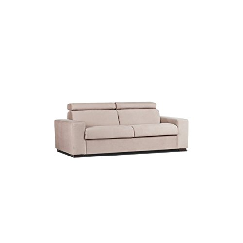 Esse italia divano letto 3 posti in tessuto sfoderabile colore nocciola 205x95xh. 80 cm