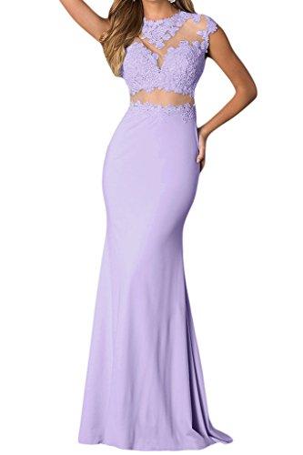 Victory bridal glamour avec traegern longueur genoux abendkleider court promkleider ballkleider brautjungfernkleider chiffon Violet - Violet