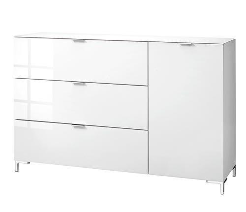 Kommode in weiß mit sandfarbenem Glas, mit 1 Klappe, 2 Schubkästen und 1 Tür, dahinter 2 Einlegeböden, Maße: B/H/T ca. 163/98/50 cm - 6