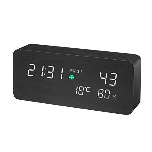 Holz Led Digital Wecker Luftqualität Swerten Monitor Pm2.5 Detektor Tester Gas Analyzer Temperatur Feuchtigkeit Meter Diagnose schwarz -