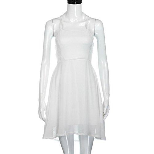 Bluestercool Femmes Robe de cocktail de fête Dos nu Bandage Mini robe Sans manches Blanc