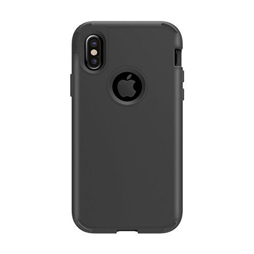 iPhone X Handycover, MOONMINI für iPhone X 3 in 1 Weich Silikon + Hart PC Dual Layer Heavy Duty Hybrid Hülle Stoßfest Handy Tasche Case Back Abdeckung Non-slip Ganzkörper-Schutzhülle Rot + schwarz Schwarz