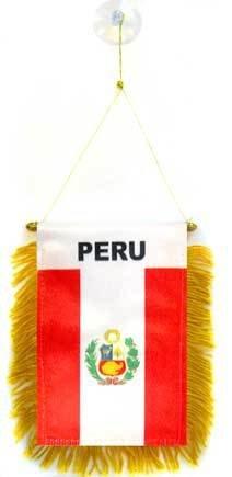 AZ FLAG Fanion Pérou 15x10cm - Mini Drapeau péruvien 10 x 15 cm spécial Voiture - Bannière