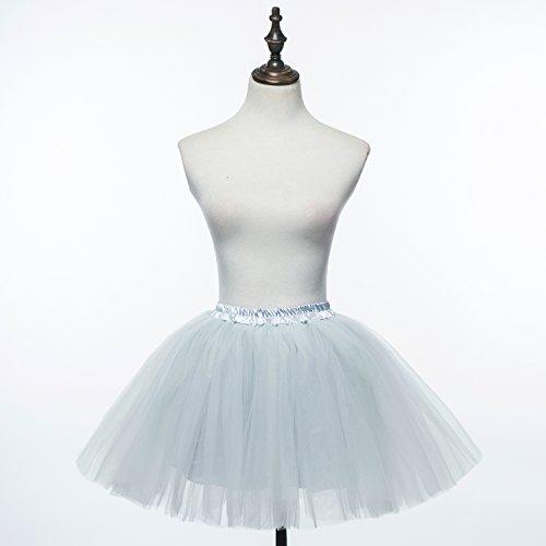 PerfectDay - Mini tutù sottogonna da balletto, da donna, in tessuto multistrato increspato a falde Grigio