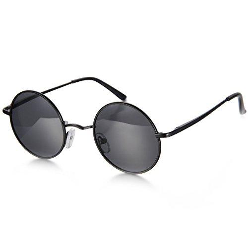 Aroncent Herren Damen Sonnenbrille, Retro Rund Kreis Strahlenschutz Polarisierte Sonnenbrille, Vollrand Sonnenbrille, Schwarz