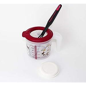 Tupperware Backen Rühr-Mix Messbecher Candy Mini 1,25L Rot + Griffbereit Schneebesen hellrot