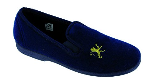 Mirak Boys Spider Warminster Fuzzy Lined Web Pattern Slipper Navy Bleu roi