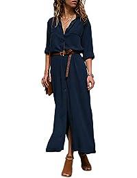 Dokotoo Kleider Damen Minikleid Sommerkleid Knielang Einfarbig Blusekleid  Hemdkleider mit knopf S-XXL 373d4eb819