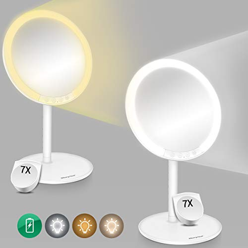 Morpilot Espejo de Maquillaje Iluminado, Espejo de tocador Vanity con 66 LED, Ajuste de luz de 3 Colores...