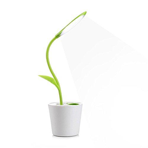 Lámpara LED de escritorio Lámpara led planta lámpara led usb con forma de planta Recargable con puerto USB y lapicero(verde fresco)