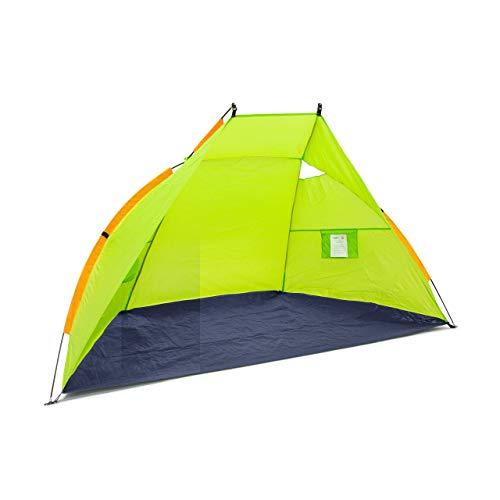Relaxdays Strandmuschel, HxBxT: 120 x 220 x 120 cm, mit Transporttasche, UV 80, leicht, Strandzelt, dunkelblau-grün