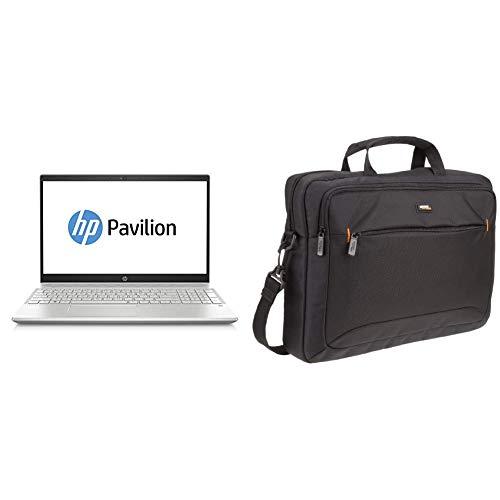HP Pavilion 15-cs0211ng 39,62 cm Notebook (Intel Core i5-8250U, 8GB RAM, 1TB HDD, 128GB SSD, Nvidia GeForce MX130 2GB) silber & AmazonBasics Tasche für Laptop /39,6cm (Tasche Hp Pavilion)