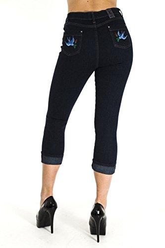 Jist Indigo Stretch Capri Hose Hohe Taille Bestickt Schlucken Tätowierung Rockabilly 50er Indigoblau