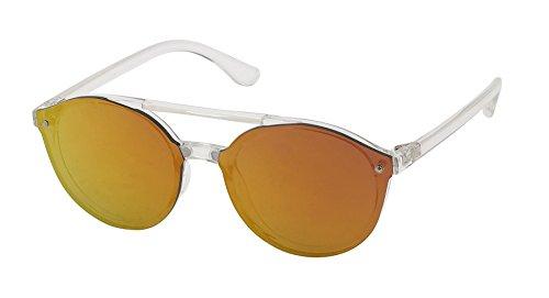 Sonnenbrille Flachglas Round Glasses Aviator Doppelsteg 100% UV Polycarbonatglas orange