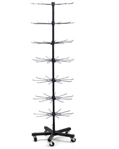 Yudu présentoir à 7 étages avec 5 pieds en métal noir