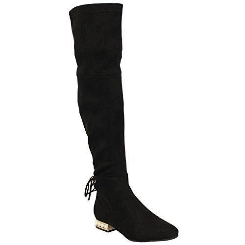 genou cuir suédé au Femmes DOUBLURE Long Noir POLAIRE dessus femmes NEUF Bottes du HIVER LOOK lu53 Chaussures 8FYx8z