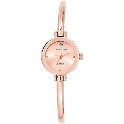 Anne Klein AK/n1946rgrg para mujer reloj infantil de cuarzo con esfera analógica de oro rosa y Cristales y Acero inoxidable brazalete de oro rosa y cristales