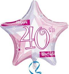 Amscan International Rosa Schimmernd 19Happy 40th Birthday Folienballon