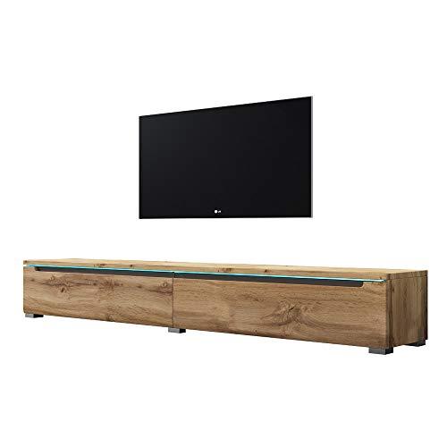 Swift - Fernsehschrank/Tv-Lowboard In Holzoptik Wotan Eiche Matt Hochglanz Mit Led Hängend Oder Stehend 180 Cm