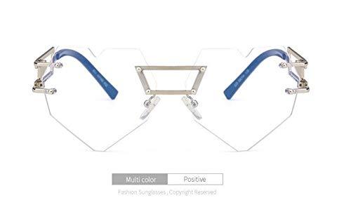WSKPE Sonnenbrille,Mode Gradient Objektiv Sonnenbrille Frauen Pfirsich Herzen Rahmenlose Metall Spiegel Männer Beine Sonnenbrille Uv400 Silber Rahmen Transparent Linse