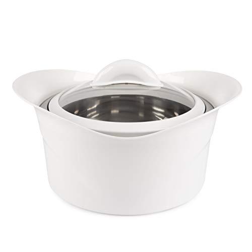 Sesua XXL Thermoschüssel Isolierschüssel Kasserolle mit Deckel (3,5 Liter) Farbe Weiß