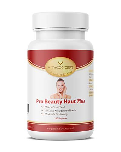 Pro Beauty Haut Plus - 100 Kapseln - Miracle Skin Effect - hochdosierte & einzigartige Wirkstoffkombination - verbesserte Rezeptur - made in Germany - Premium Edition von VITACONCEPT