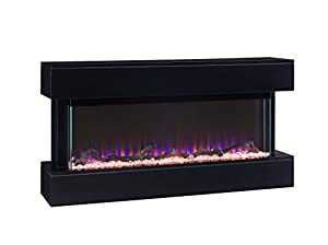 Electric Fireplace Wall Mounted White or Black Flat Modern Glass Remote Control