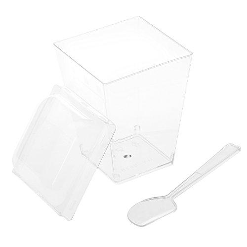 BESTONZON 10 Sätze Dessertbecher mit Deckel und Löffel Dessertschale Eisbecher Plastik Fingerfood Schalen Becher für Weihnachten Party 150 ML (Transparent)