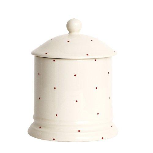 Little Red Dot Lot de 2 pots de conservation en faïence Rouge/crème