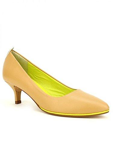 Cendriyon, Escarpin CUIR Veau Caramel VOLTA Chaussures Femme Caramel