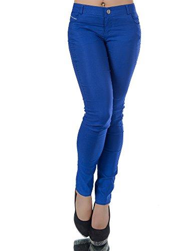 N011 Damen Hose Treggings Jeggings Stoffhose Freitzeithose Röhrenhose Leggings , Farben:Royalblau;Größen:40 (L)
