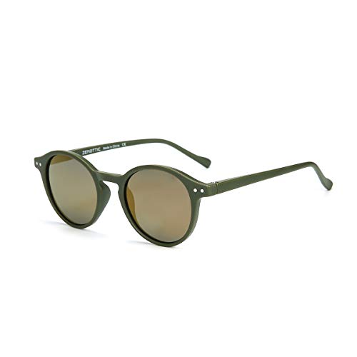 ZENOTTIC Sonnenbrille Polarisiert Rund Retro Klassisch UV 400 Schutz Vintage Rahmen für Herren Damen (MATT GRÜN + REFLEXION GELB)