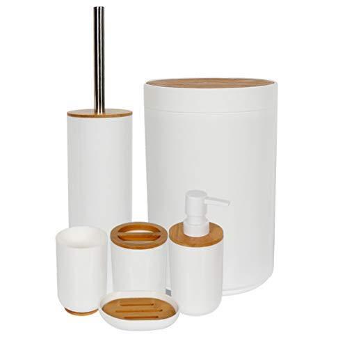 Furein Juego de Accesorios de Baño Completo, de 6 Unidades, Diseños Variados (71030 bambú)