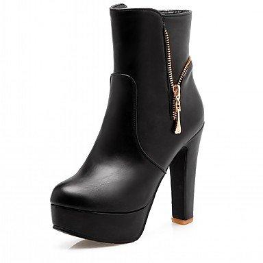 Rtry Femmes Chaussures Pu Similicuir Automne Hiver Confort Nouveauté Mode Bottes Chunky Bottes Bout Rond Bottillons / Zipper Cheville Bottes Pour Party & Amp; Us10.5 / Eu42 / Uk8.5 / Cn43