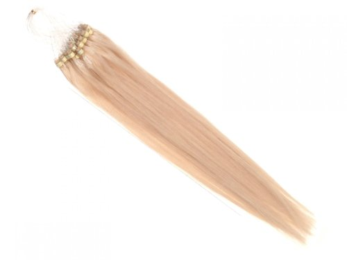25 Extensions MicroRing - Vrais Cheveux- 30 cm 0,5 g Mèches à boucle, Couleur:Blond clair