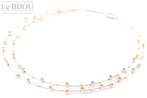 Le BIJOU exkl.Collier Edelstahldrähte mit Swarovski Kristalle + Perlen cremeweiß 42 cm
