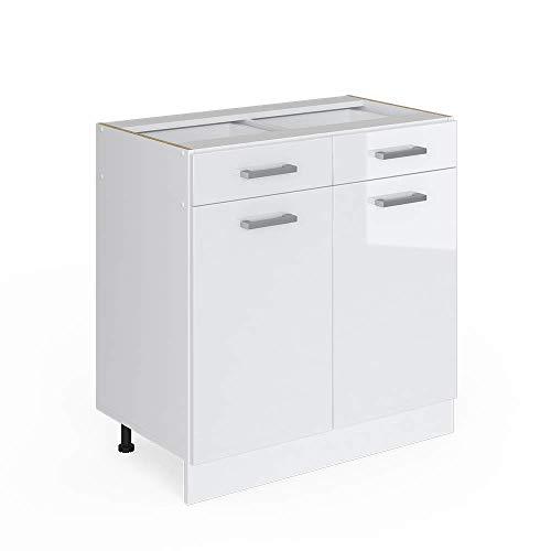 Vicco Küchenschrank R-Line Küchenzeile Hängeschrank Unterschrank Küchenschränke Küchenunterschrank Arbeitsplatte (weiß ohne Arbeitsplatte, Schubunterschrank 80 cm)