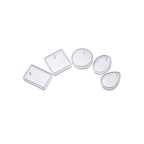 ROSENICE Silikon Formen Schmuck Anhänger Gießform für DIY Schmuckherstellung 5 Stück (Rechteck Waterdrop runden quadratischen Oval)