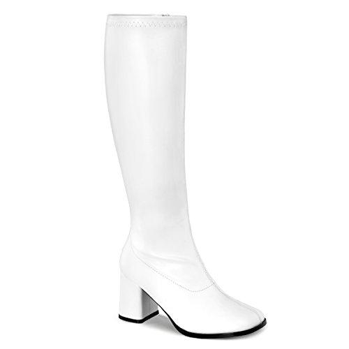 (GOGO-300WC, Schlichter Stretch-Stiefel weiß (weiter Schaft), Größe wählen:36)