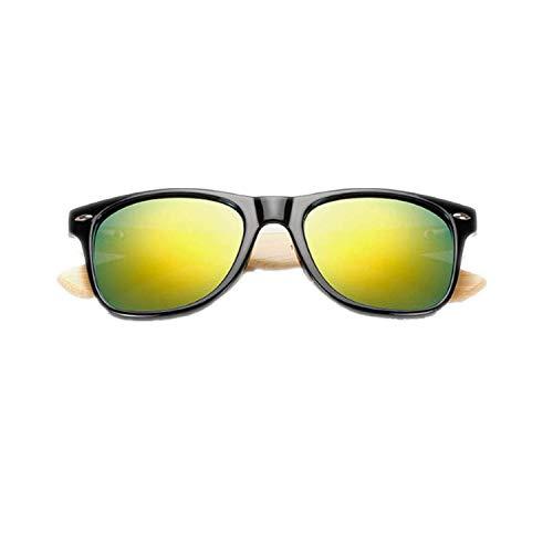 OULN1Y Sport Sonnenbrillen,Vintage Sonnenbrillen,Retro Wood Sunglasses Men Bamboo Sunglass Women Sport Goggles Gold Mirror Sun Glasses -