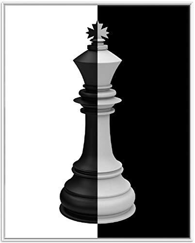 Wallario Wandbild Schachfigur schwarz-weiß in Premiumqualität mit weißem Rahmen, Größe: 40 x 50 cm