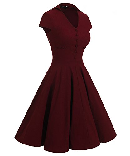 Gigileer 1950's Rockabilly Damen Kleider Swingkleid Cocktail Kurzarm Knielang festlich Party Burgundy XXL -
